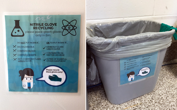 Photos showing Nitrile Glove recycling
